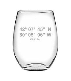 Susquehanna Glass Erie Latitude And Longitude Wine Glass