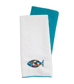 Ritz™ Embroidered Microfiber Fish Two Pack  Kitchen Towel Set