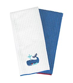 Ritz™ Embroidered Microfiber Whale Two Pack Kitchen Towel Set