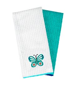 Ritz™ Embroidered Microfiber Butterfly Two Pack Kitchen Towel Set