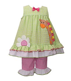 Bonnie Jean® Girls' 2T-4T Seersucker Check Giraffe Dress Set