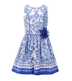 Bonnie Jean® Girls' 7-16 Printed Poplin Border Dress