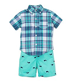 Little Me® Baby Boys Plaid ShirtAnd Whale Shorts Set