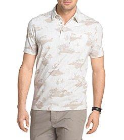 Van Heusen® Men's White Washed Printed Self Collar Polo