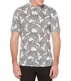 Perry Ellis® Men's Short Sleeve Alternate Floral Stripe Shirt