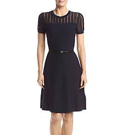 Calvin Klein Textured Belted Sweater Dress