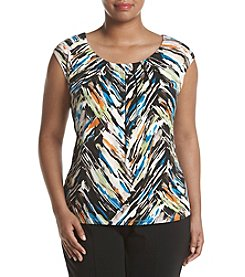 Kasper® Plus Size Pleated Printed Cami
