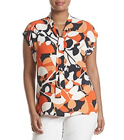 Nine West® Plus Size Printed Tie Neck Top