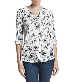 Relativity® Floral Print Henley