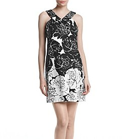 Taylor Dresses® Printed Floral V-neck Dress