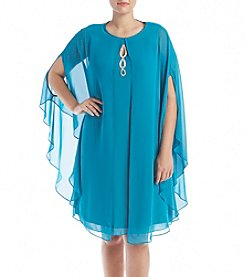 S.L. Fashions Plus Size Beaded Capelet Dress