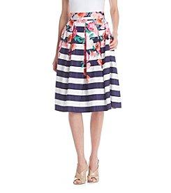 Eliza J® Floral Stripe Midi Skirt