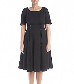 Gabby Skye® Plus Size Lace Up Fit And Flare Dress
