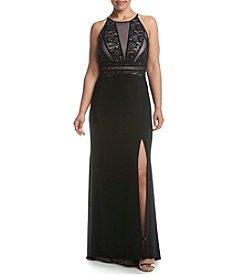 Morgan & Co.® Plus Size Lace Mesh Insert Bodice Dress