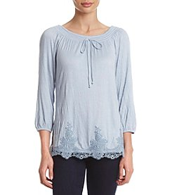 AGB® Crinkle Woven Lace Trim Top