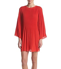 Nina Leonard Pleated Shift Dress