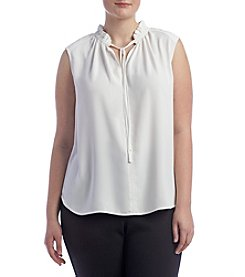 Nine West® Plus Size Tie Neck Blouse