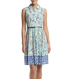 Nine West® Belted Printed Fit and Flare Dress