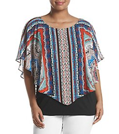 AGB® Plus Size Woven Overlay Top