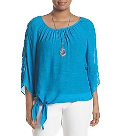 AGB® Plus Size Tie Front Crochet Blouse