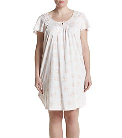 Miss Elaine® Plus Size Floral Printed Nightgown