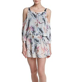 Miken® Printed Chiffon Cold Shoulder Coverup