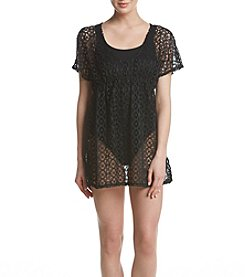 Miken® Crochet Cold Shoulder Empire Coverup Tunic