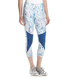 Jessica Simpson - The Warmup Print Capri Leggings with Mesh Inset