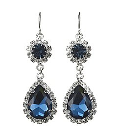 BT-Jeweled Simulated Crystal Double Drop Earrings