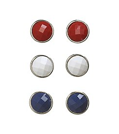Studio Works® Red, White and Blue Stud Earrings Trio