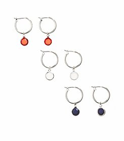 Studio Works® Red, White And Blue Hoop Earring Trio