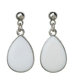 Studio Works® Silvertone Enamel Inlay Drop earirngs