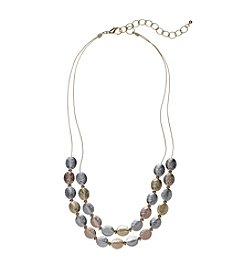 Studio Works® Two Row Oval Disc Necklace