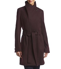 Calvin Klein Asymmetrical Buttoned Trench Coat With Belt