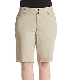 One 5 One® Plus Size Flap Back Pocket Bermuda Shorts