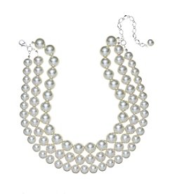 Studio Works® Three Row Simulated Pearl Necklace
