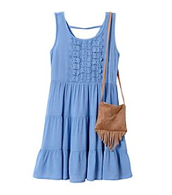 Beautees Girls' 2T-6X Tiered Boho Dress and Purse Set
