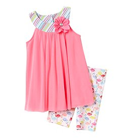 Sweet Heart Rose® Girls' 4-6X Mesh Top W Flamingo Printed Capris