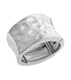 Erica Lyons® Extended Sizes Wide Hammered Stretch Ring