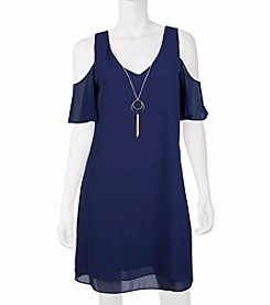 A. Byer Cold Shoulder Shift Dress