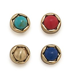 Lauren Ralph Lauren Pop Style Set Of 4 Stud Pierced Earrings