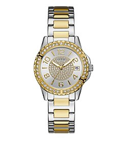 GUESS Women's Two Tone Crystal Accented Watch