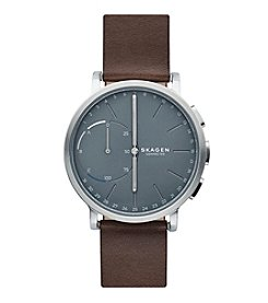 Skagen Connected Hybrid Smartwatch In Stainless Steel With Leather Strap