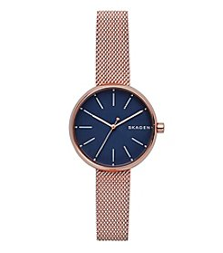 Skagen Ladies Signature Watch In Stainless Steel With Mesh Strap
