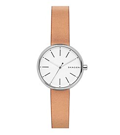 Skagen Ladies Signature Watch In Stainless Steel With Leather Strap