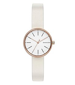 Skagen Ladies Signature Watch In Stainless Steel With Plating And Leather Strap