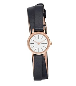 Skagen Ladies Hagen Double Wrap Watch In Stainless Steel With Leather Strap