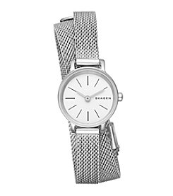 Skagen Ladies Hagen Mesh Double Wrap Watch In Stainless Steel Mesh