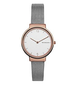 Skagen Ladies Ancher Watch In Stainless Steel With Mesh Strap
