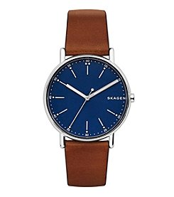 Skagen Men's Signature Watch In Stainless Steel With Leather Strap